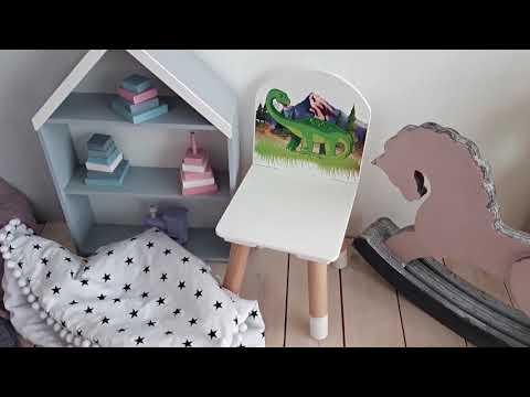 Детский стул РЫЖИЙ ТИМ ДИНОЗАВР цвет Бело-зеленый