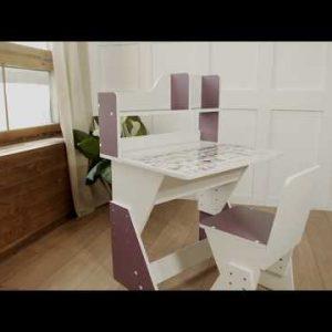 Растущий стул и парта (комплект) Я сам Первое место цвет Бело-лазурный